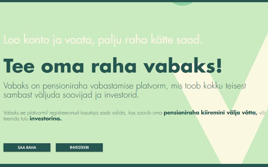 Фрагмент скриншота сайта Vabaks.ee.